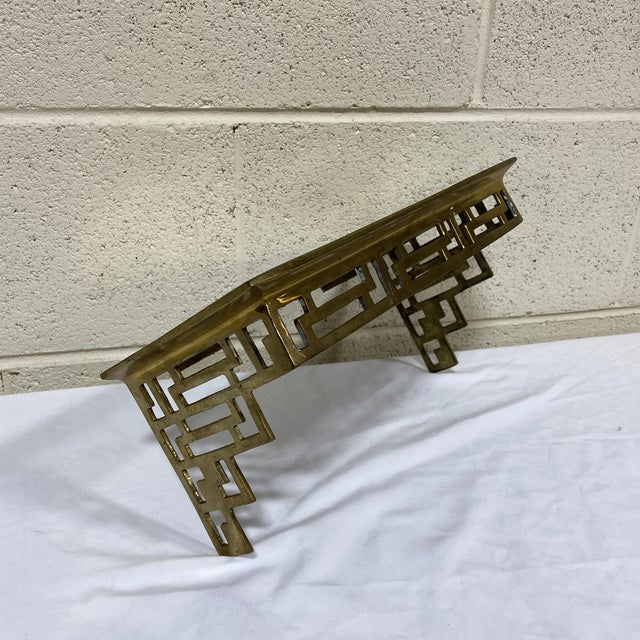 Hollywood Regency Solid Brass Greek Key Wall Shelf Bracket For Sale - Image 3 of 13