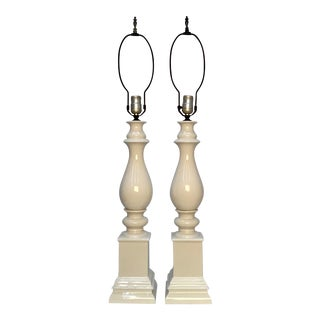 1950s Vintage Classical Baluster Shape White Porcelain Architectural Table Lamps - a Pair For Sale