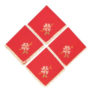 Red Cross-Stitch Napkins, S/4 For Sale