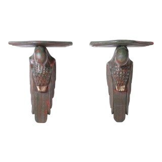 Carved Wood Parrot Wall Brackets - A Pair For Sale