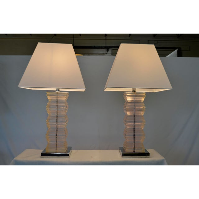 Vintage Lucite Stacked Lamps - A Pair For Sale - Image 5 of 5