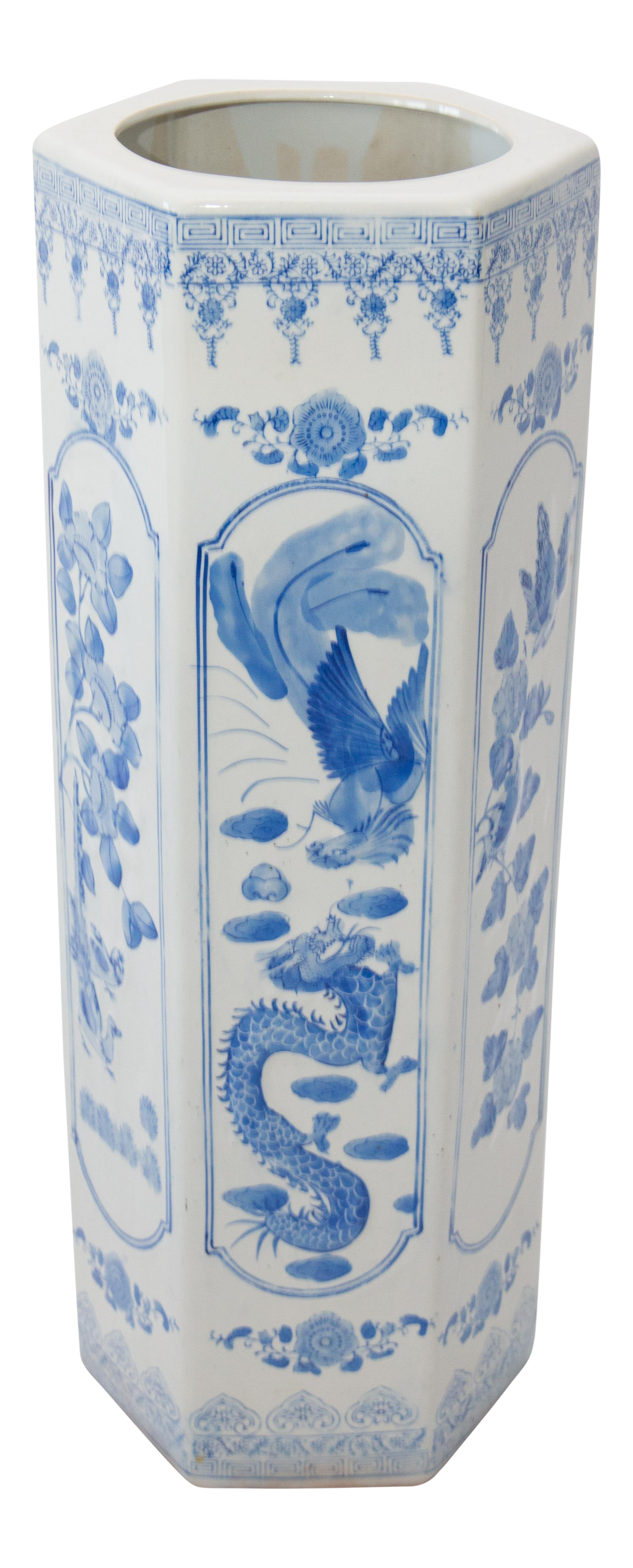 Large Antique Chinese Blue U0026 White Umbrella Stand For Sale