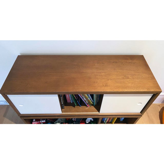 2000 - 2009 Crate & Barrel Mid-Century Modern Style Walnut Toy Box and Book Shelf For Sale - Image 5 of 6