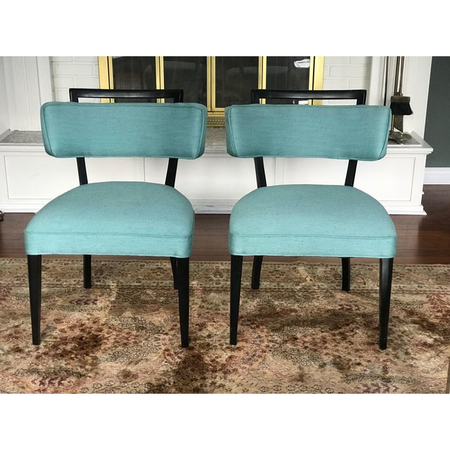Modern Black Lacquer and Teal Accent Chairs - A Pair For Sale - Image 13 of 13