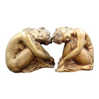 Universal Statuary Corp of Chicago Ill Art Nouveau Nude Relaxing Women - a Pair For Sale
