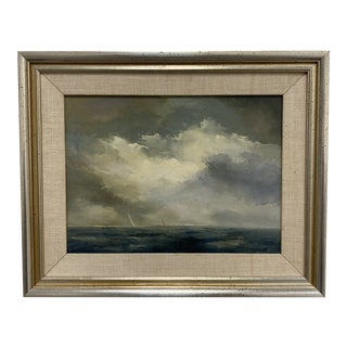 Mid 20th Century Original Seascape Oil Painting For Sale