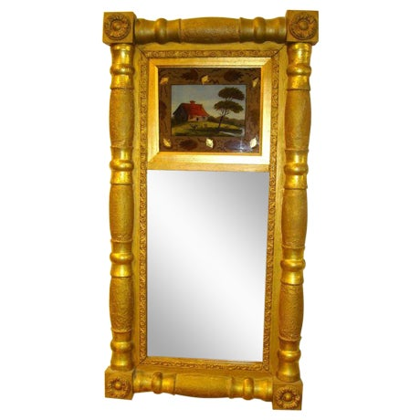 19th Century Gilded Mirror with Reverse Painted Glass - Image 1 of 7