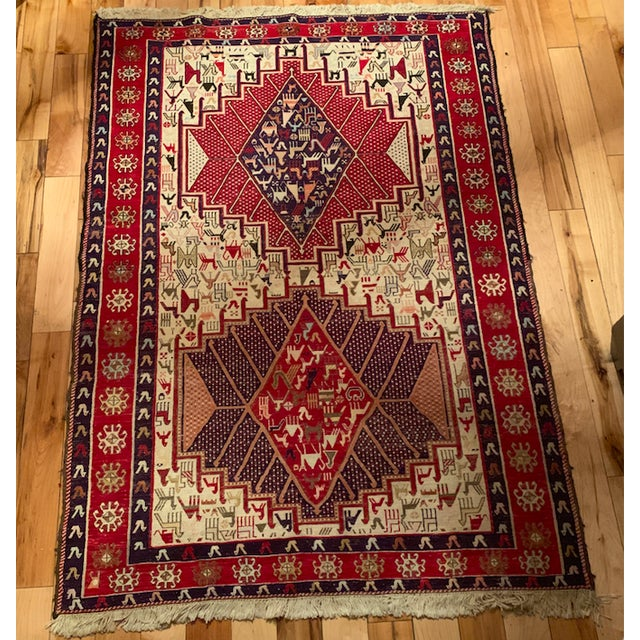 Late 19th Century Antique Silk Sumac Persian Rug - 3′3″ × 4′9″ For Sale - Image 4 of 5