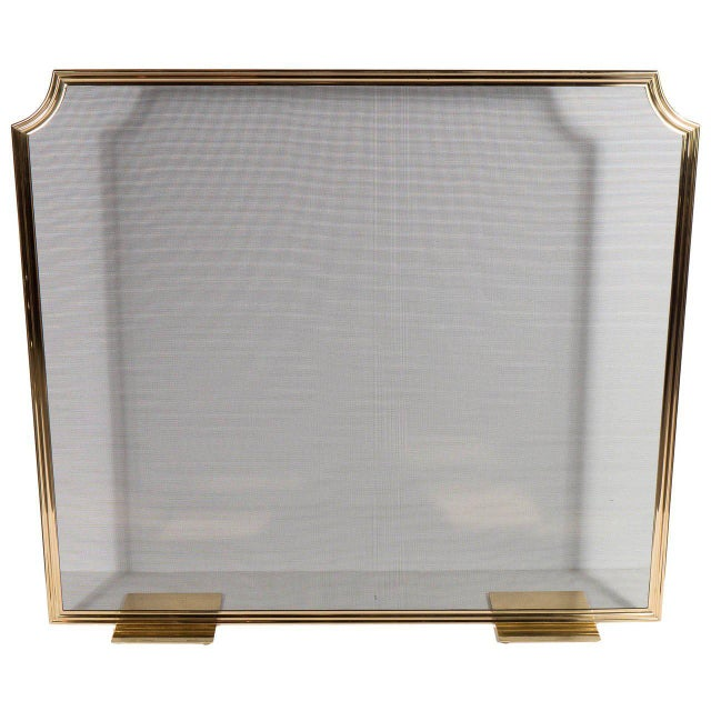 Custom Modern Fire Screen in Polished Brass with Curved Corner Detail For Sale - Image 9 of 9