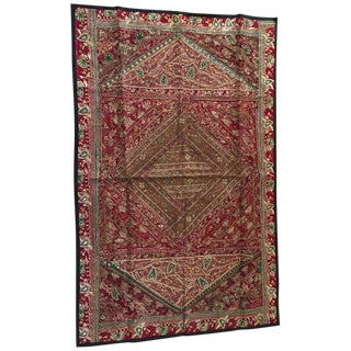 Indian Hand Embroidered and Quilted Mughal Metal Threaded Tapestry For Sale