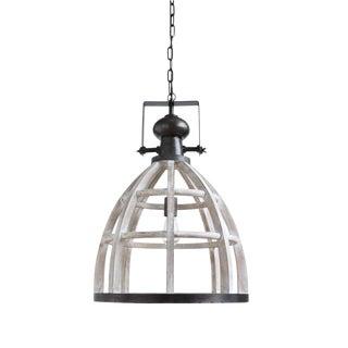 Wood & Metal Pendant Light For Sale