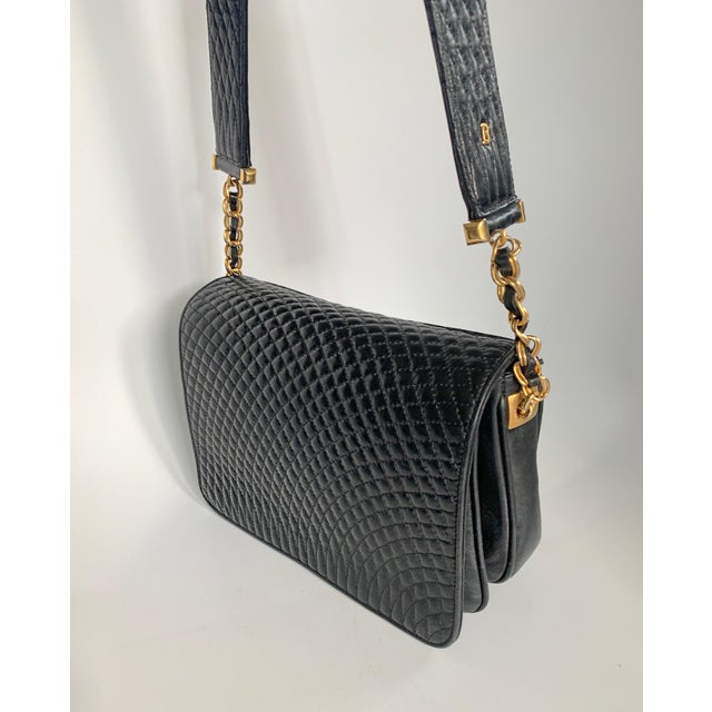 Bally Vintage Bally Handbag Quilted Black Lamb Skin Leather For Sale - Image 4 of 13