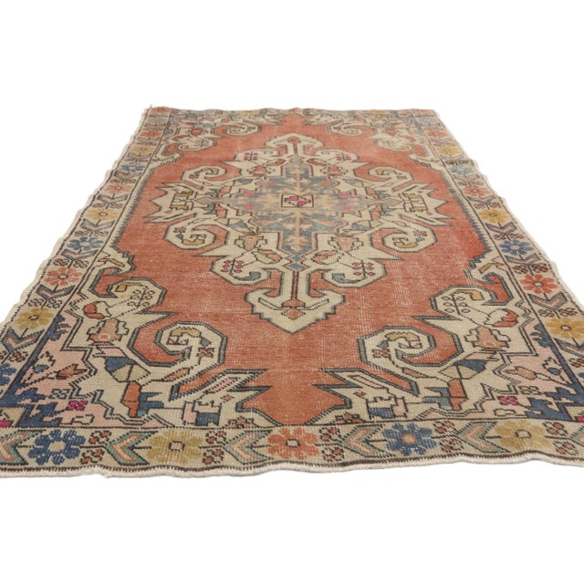 Islamic Distressed Vintage Turkish Oushak Rug With Art Deco Style - 4'05 x 7'07 For Sale - Image 3 of 9