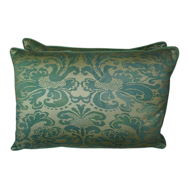 Pair of Italian Venetian Style Green & Gold Pillows For Sale