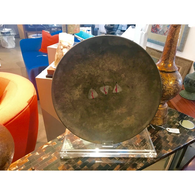 Modern David Westmeier Large Raku Fired Charger on Heavy Lucite Display Stand For Sale - Image 3 of 8