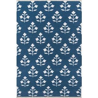 "Erin Gates Thompson Grove Navy Hand Woven Wool Area Rug 3'6"" X 5'6"" For Sale"