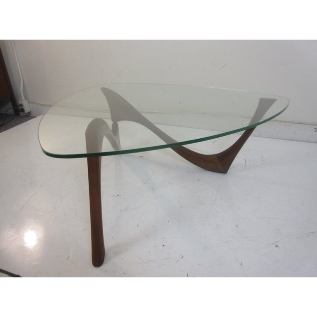 Exceptional Mid Century Walnut And Glass Triangular Coffee Table - Mid century triangle coffee table