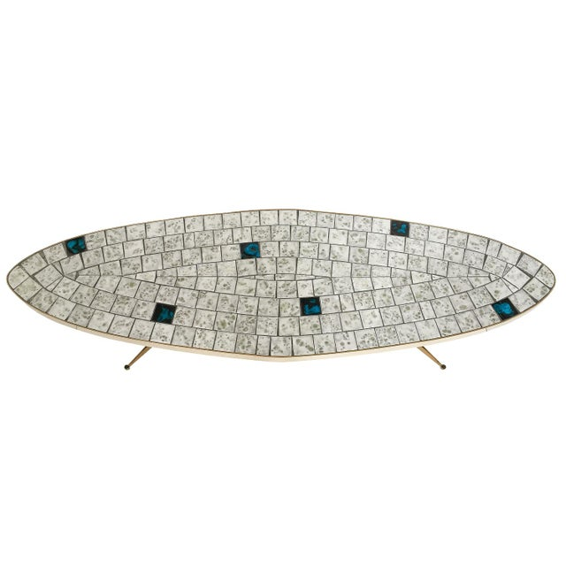 Italian Italian Brass Tiled Top Surfboard Coffee Table For Sale - Image 3 of 13