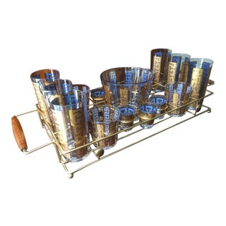 Mid Century Bar Caddy Cocktail Set - Set of 18 For Sale