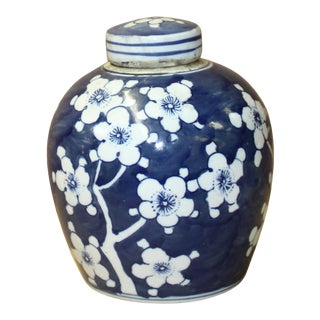 Chinese Blue White Ceramic Blossom Flowers Graphic Ginger Jar For Sale