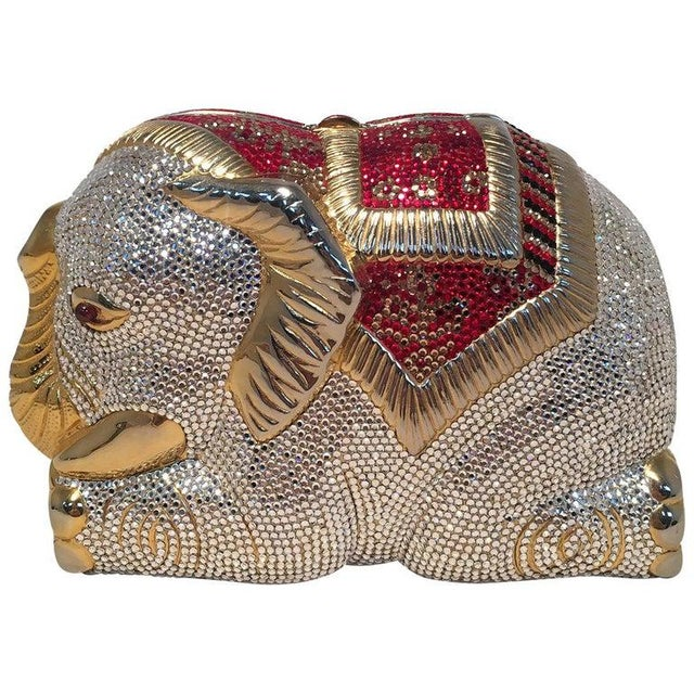 Rare Judith Leiber Swarovski Crystal Elephant Minaudiere Evening Bag Clutch For Sale - Image 10 of 10