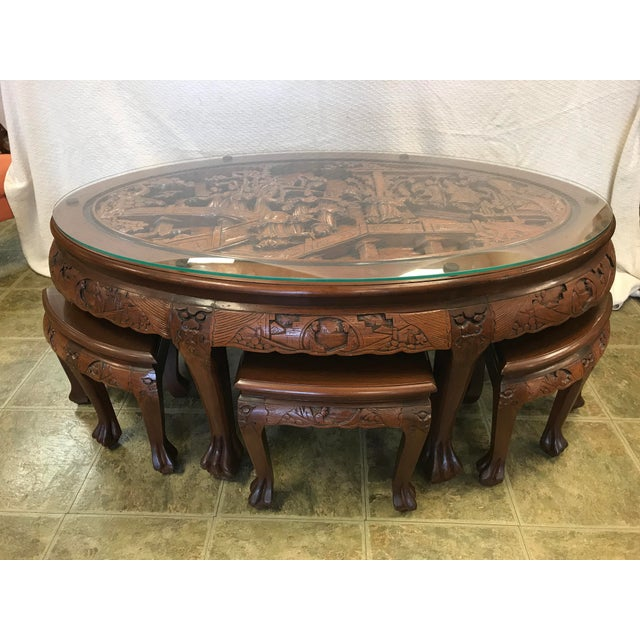 Swell Asian Hand Carved Solid Mahogany Tea Table With 6 Stools Gmtry Best Dining Table And Chair Ideas Images Gmtryco