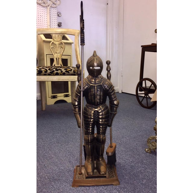 "Art Deco ""Sir Fireplace"" Fireplace Tool Set and Stand For Sale - Image 3 of 7"