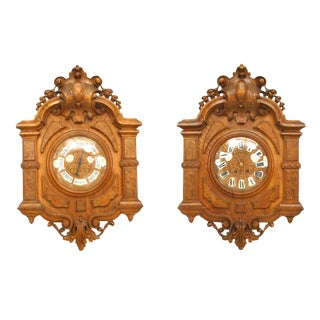 English Victorian Walnut Wall Clock & Barometer-A Pair For Sale