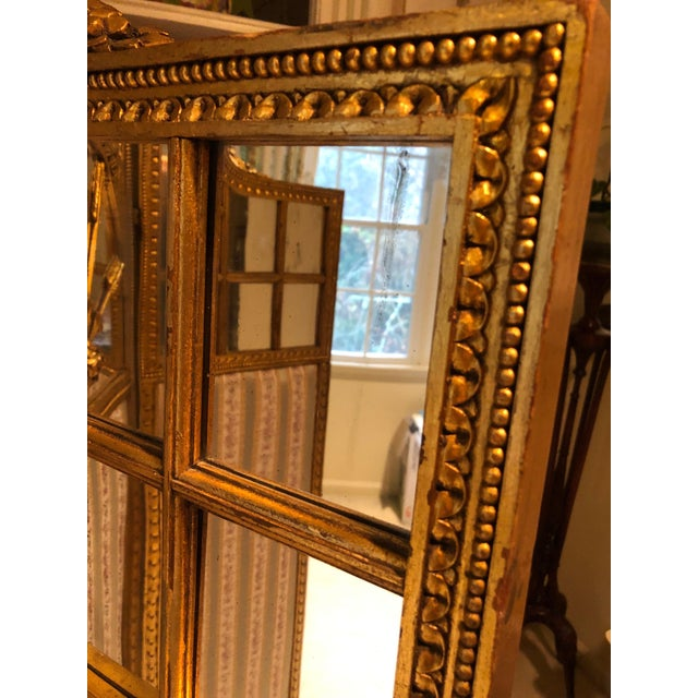 Wood French Neoclassical Revival Giltwood Mirror and Upholstered 3-Panel Screen For Sale - Image 7 of 13