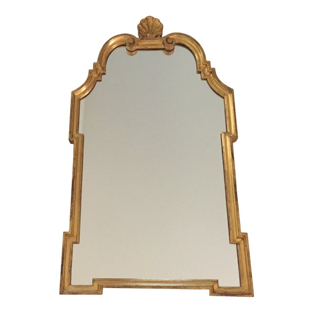 Vintage 1960s Hollywood Regency Mid Century Modern Gilded Mirror W/ Scrolls and Shell Crest, Marked Italy For Sale