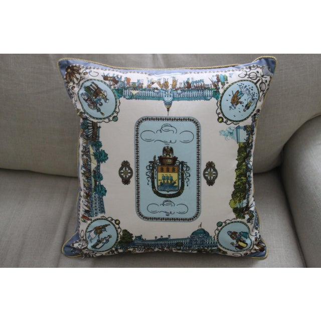 Beautiful and soft pillow cover with images of an 18th Century European festival street scene. Listing does not include...