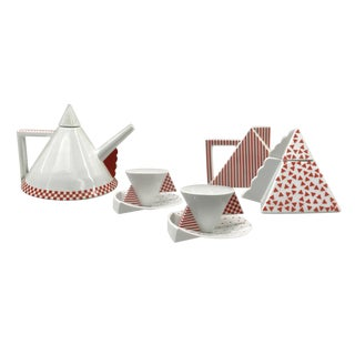 1980s Memphis Helena Uglow Mikasa Millenium Postmodern Tea Set - 5 Pieces For Sale