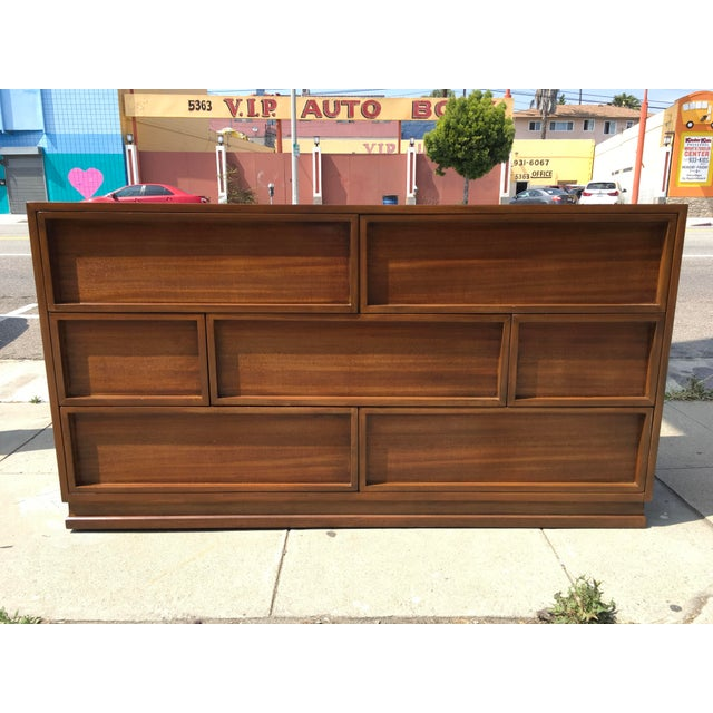 Art Deco 1940s Mid Century Modern Triangle Brand Mahogany Low Dresser For Sale - Image 3 of 11