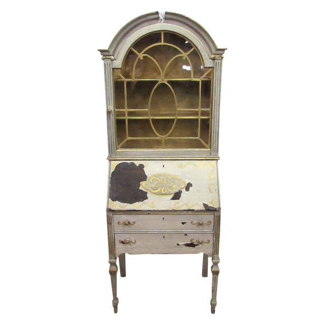 Antique Secretary Desk & Cabinet Duo For Sale