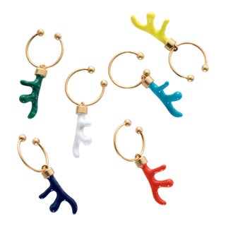 Coral Wine Charms, Set of 6 For Sale