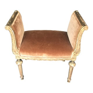 19th Century French Rose Cumming Silk Velvet II/Copper Giltwood Bench For Sale