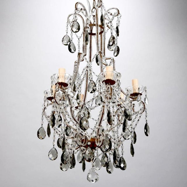 French Six Light All Crystal Beaded Chandelier With Smoke Color Drops - Image 10 of 10