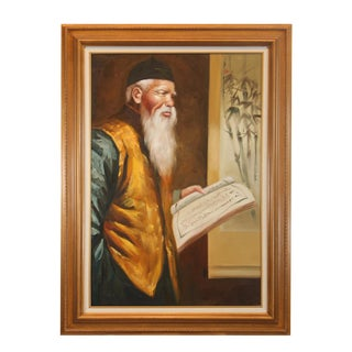 """""""Chinese Man"""" Framed Oil on Canvas Painting For Sale"""