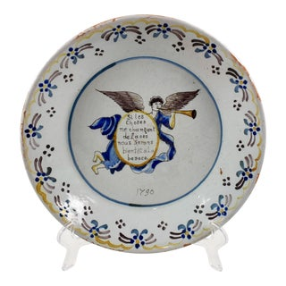 18th C. Nevers French Revolution Tin-Glazed Dish, Angel & Motto For Sale