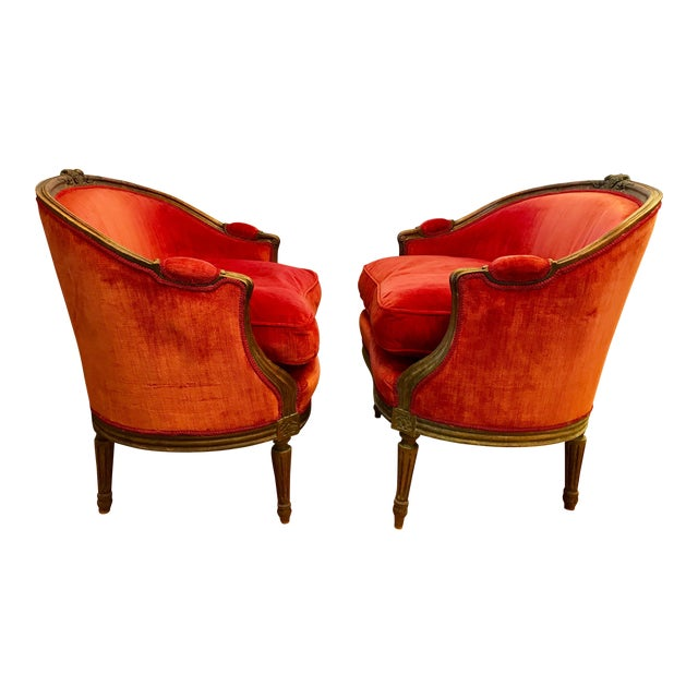 Pair of Belle Epoque French Louis XV Style Red Velvet Bergeres Chairs Armchairs For Sale
