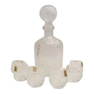 Oberglas Austrian Crystal Glass Decanter Set Bar Glassware Diamond Cut - Seven Pieces For Sale