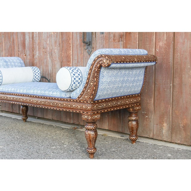 Exclusive Anglo Indian Bone Inlaid Chaise Lounge With Linen Block Print Upholstery For Sale In Los Angeles - Image 6 of 13