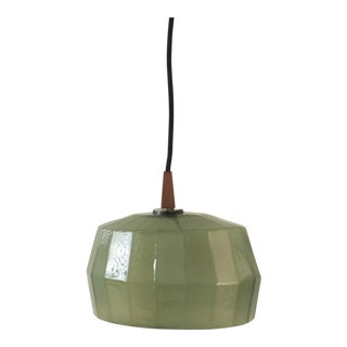 Olive Green Handblown Glass Oblong Pendant Light For Sale