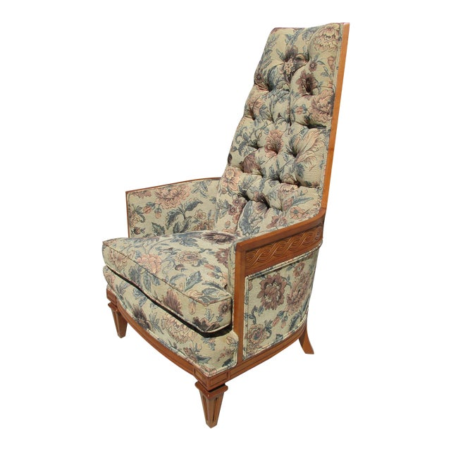 Tufted High Back Armchair With Beautiful Wood Detail - Image 1 of 11