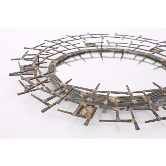1970s Brutalist Nailhead Sunburst Mirror For Sale - Image 4 of 5