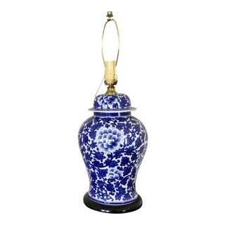 Chinoiserie Blue and White Lamp For Sale