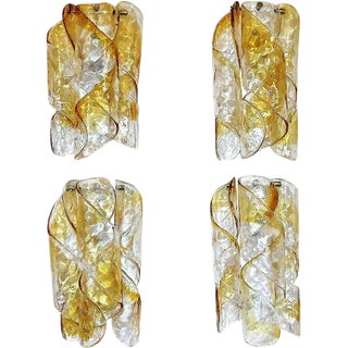 Four Italian Mazzega Murano Swirled Glass Sconces - Set of 4