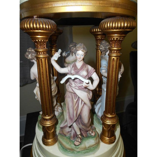 Porcelain Musical Lady Figures Lamp - Image 4 of 7