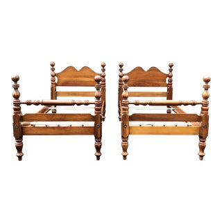 Solid Cherry Antique Cannonball Twin Beds- a Pair For Sale