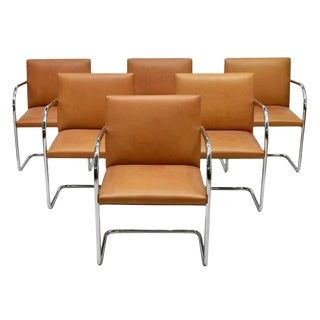 21st Century Vintage Tan Leather Mies Van Der Rohe Brno for Knoll Armchairs- Set of 6 For Sale